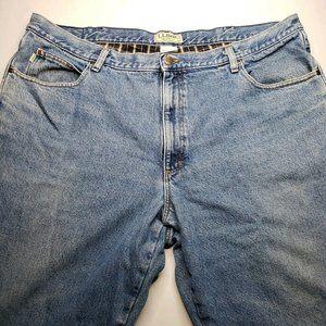 LL Bean Men's 44x29 Flannel Lined Blue Jeans